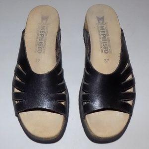 Mephisto Black leather slides EU37/US7